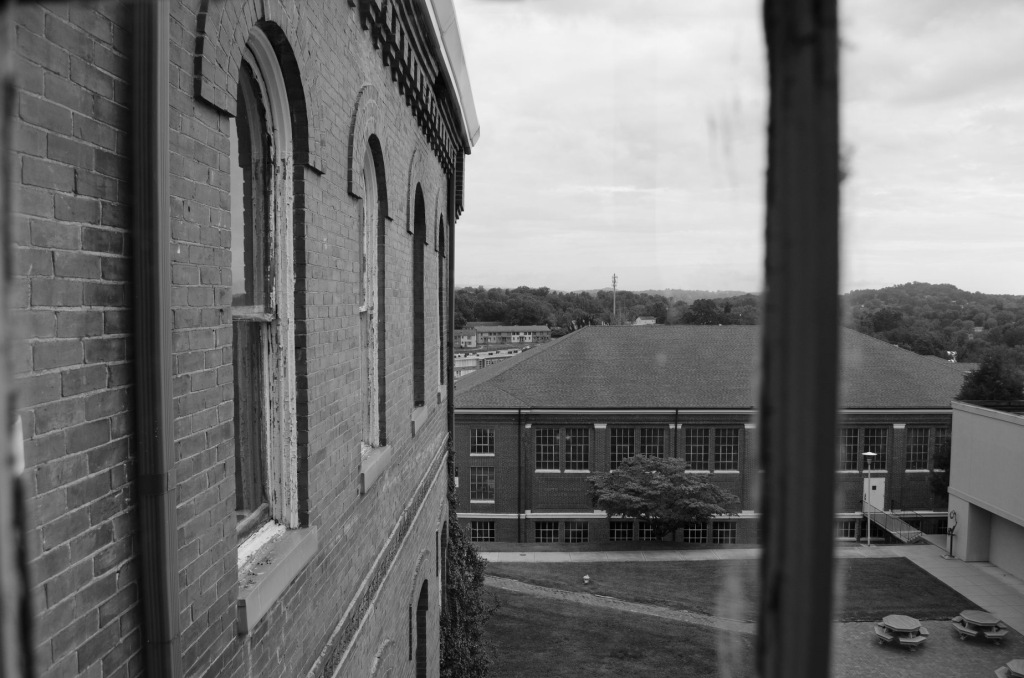 Looking out the window of Virginia Intermont College in Bristol, VA