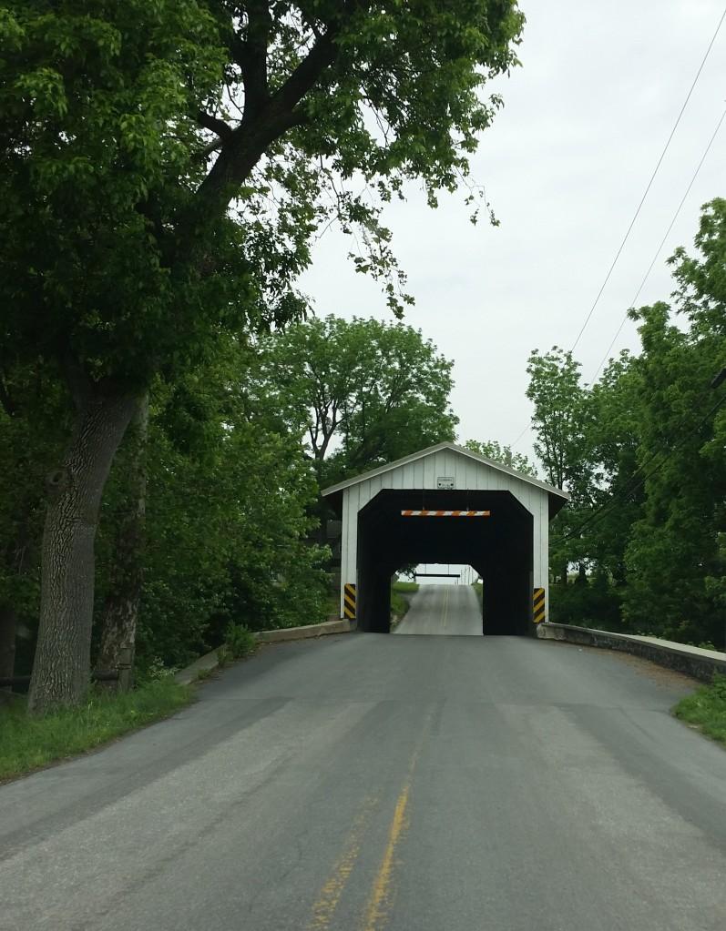 Road through a covered bridge.