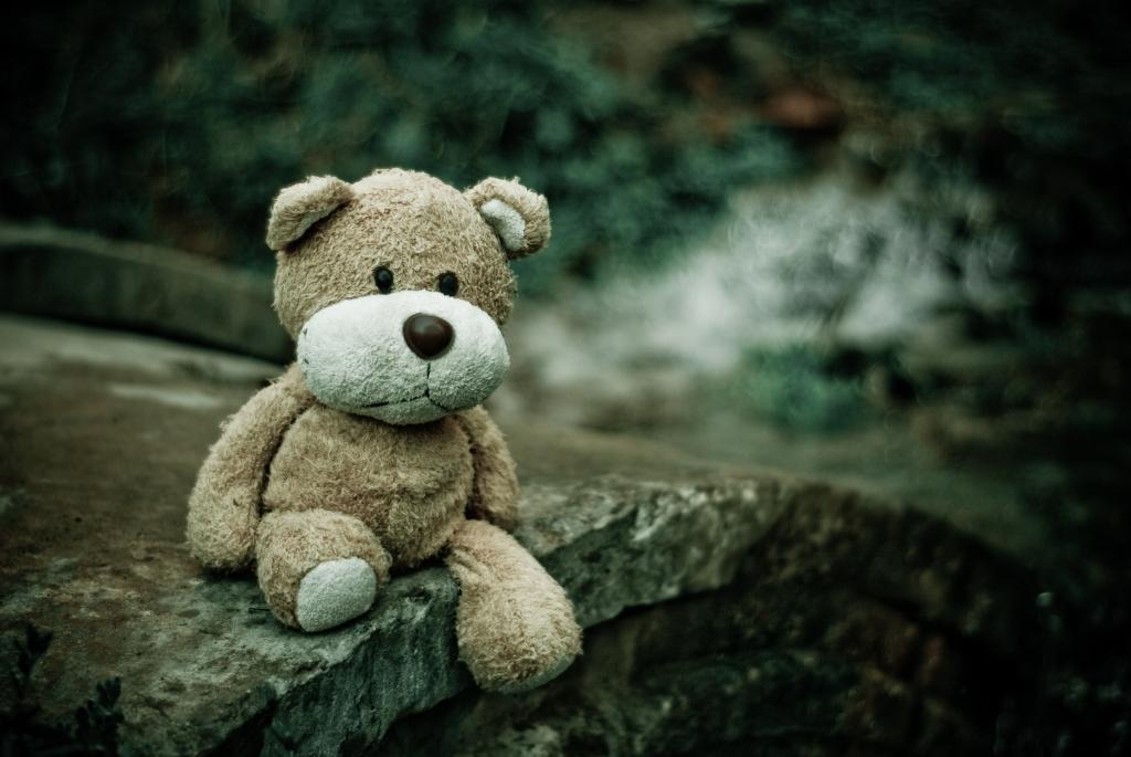 Teddy bear sitting on a bridge